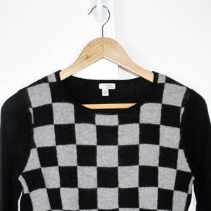Halogen XS Petite Cashmere Checkerboard Sweater